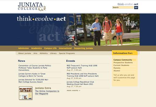 Juniata Website - BEFORE
