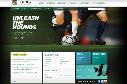 Loyola Universitiy Maryland - New homepage - Sep 2011